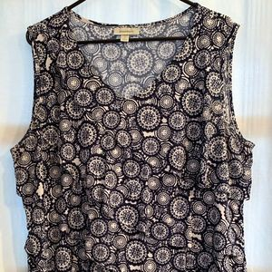 Dressbarn Navy Blue V-Neck Top, Sz. 2X